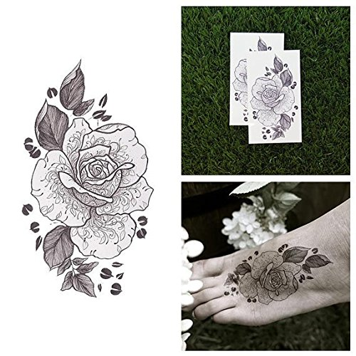 Amber Sweet Costume (Tattify Flower Temporary Tattoo - Amber Rose (Set of 2) - Other Styles Available - Premium and Fashionable Temporary Tattoos- Tattoos that are Long Lasting and Waterproof)