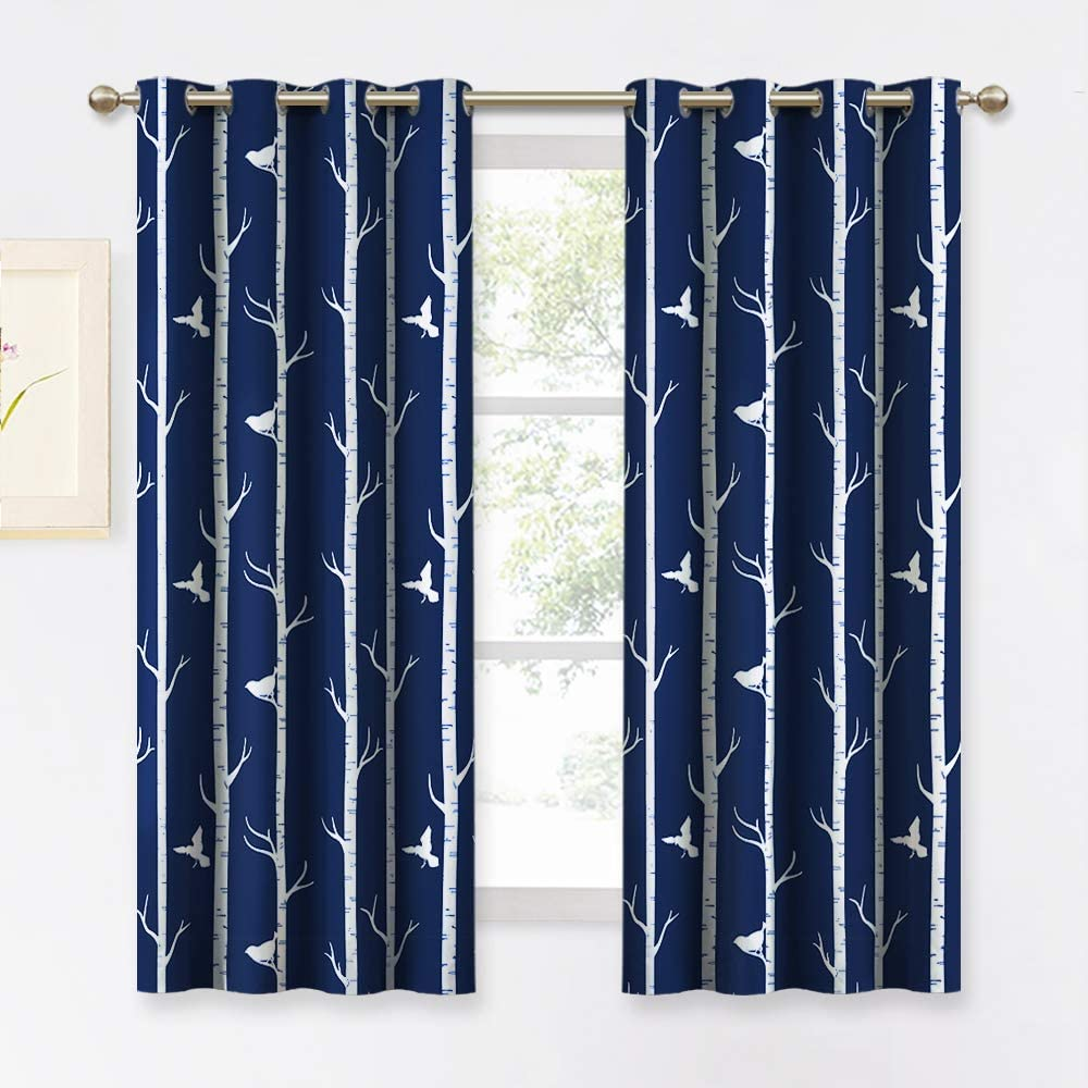 KGORGE Room Darkening Bedroom Curtains - Thermal Insulated Home Decor Modern Tree and Birds Pattern Grommet Drapes for Dining Cafe Kids Playroom, 2 Panels, 52 Width x 63 Length, Navy Blue