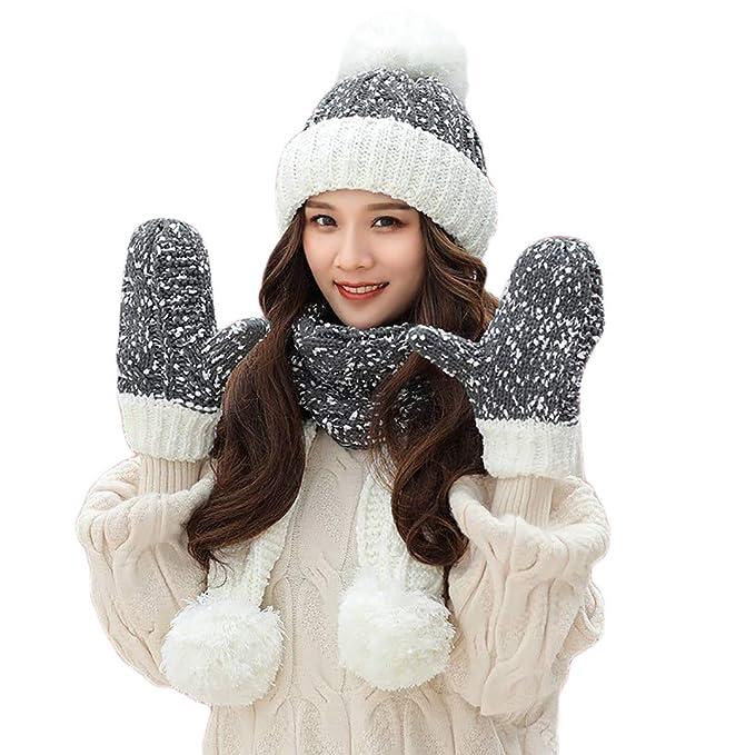 ALIKEEY Eleganti Berretto Invernali 3 Pezzi Donna Inverno Caldo Cappello A  Maglia Venonat Beanie + Sciarpa db9c5359e222