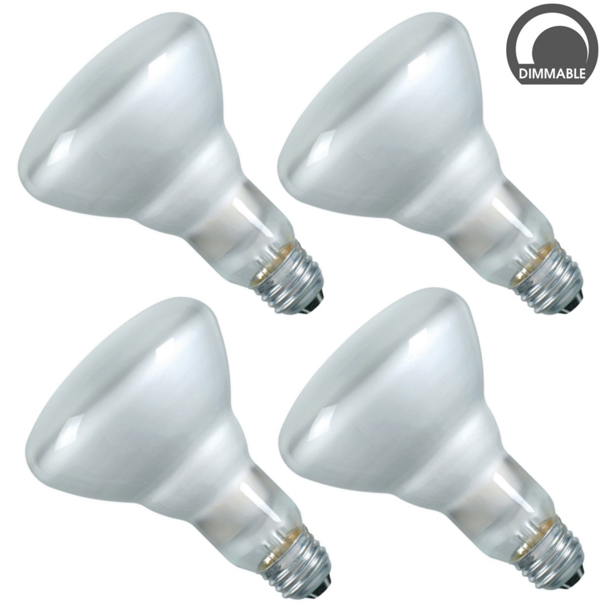 Luxrite LR20880 (4-Pack) 65-Watt BR30 Incandescent Flood Light Bulb, Dimmable, Frosted Finish, 500 Lumens, E26 Base