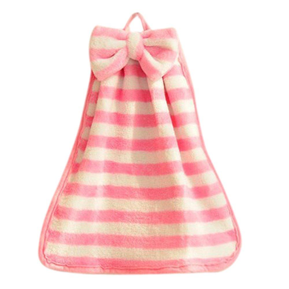 Children Nursery Hand Towel Soft Plush Bow Hanging Wipe Bathing Towel Kitchen (Pink)