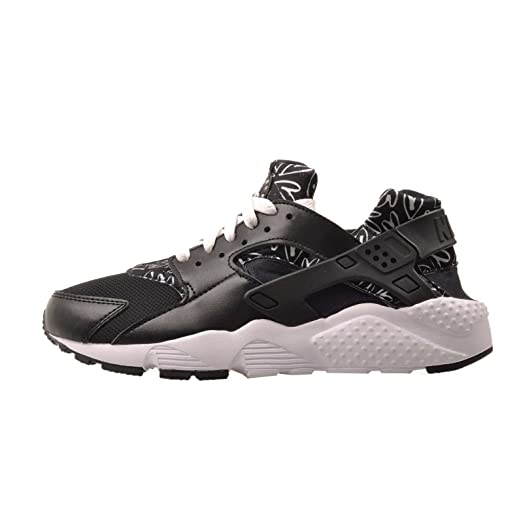 NIKE Kid's Huarache Run Print GS, Black/White - Lava Glow - White,