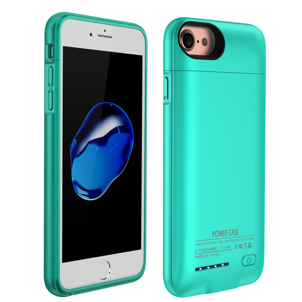 iPhone 8 plus / 7 plus / 6 plus / 6S plus Battery Case, F.Dorla 4200mAh Ultra Thin Extended Rechargeable Apple Battery Power Bank Slim Charger Case with Magnet bracket 5.5 inch (Cyan-blue)
