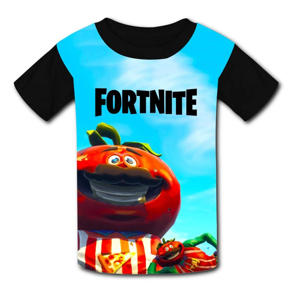 Stzanpt Youth Kids Fantasy Smile Tomatohead Fortnite Casual Printed T-Shirt Short Sleeve Tees Summer Tee M
