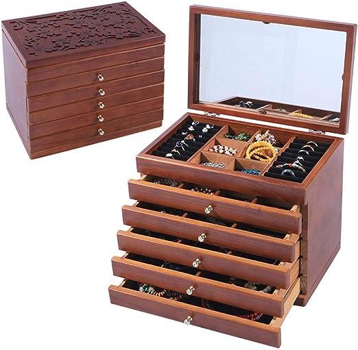 TONGSH Caja de Madera Real/Caja de joyería de Madera Caja de ...