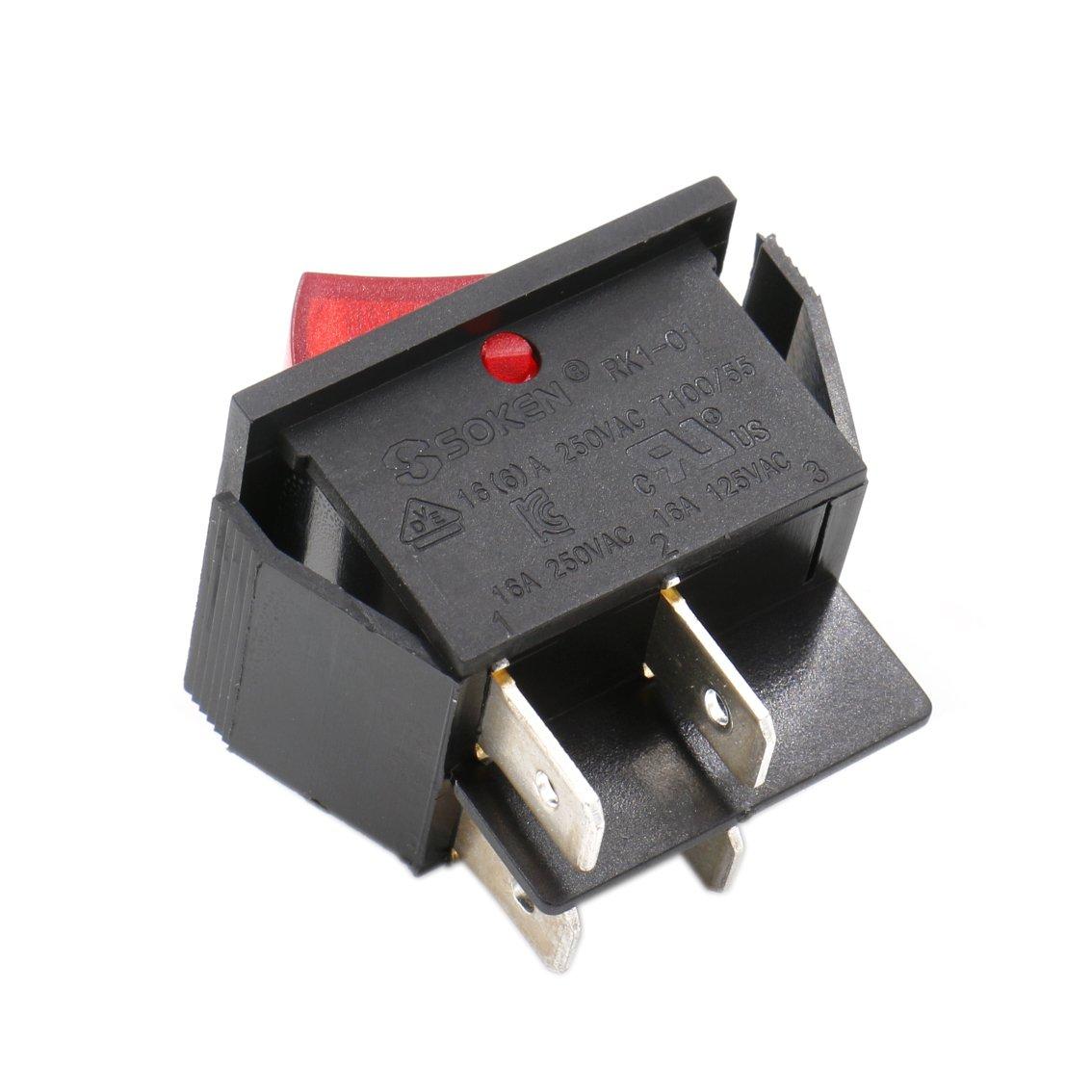 luz roja 2/unidades 16/A Interruptor basculante DPST de encendido y apagado 4/terminales Heschen 250/V CA