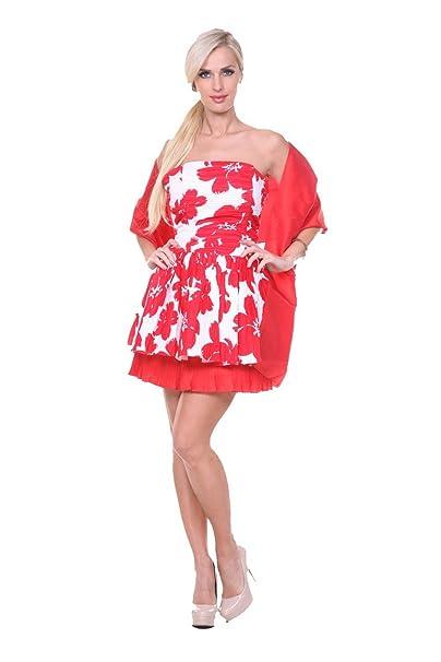 Stanzino nueva mujeres sexy sin tirantes blanco rojo globo Fiesta Cóctel Noche Vestido XS-M
