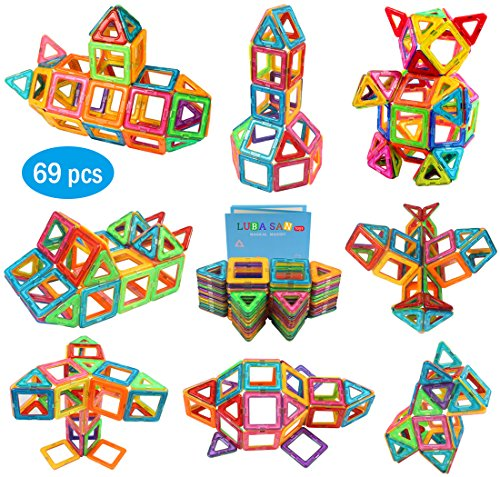 Magnetic Building Blocks Tiles Early Learning Educational Construction Stacking Toys with Storage Bag for Boys and Girls -69 PCS.Great Christmas Gift for Kids by LUBA SAN