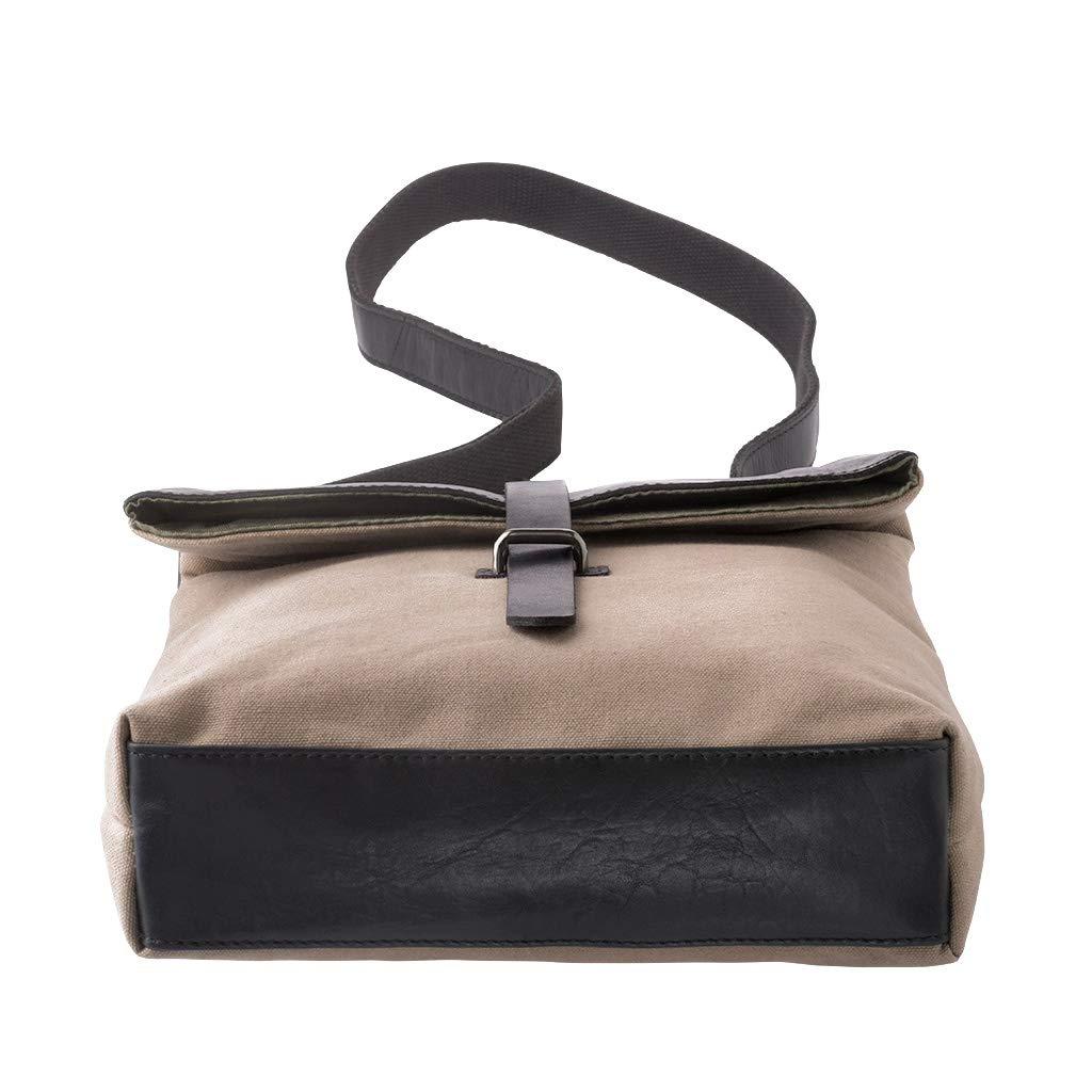 DUDU Shoulder Messenger Bag Canvas /& Leather Crossbody Work//Day Bag for men women Casual timeless Design Black