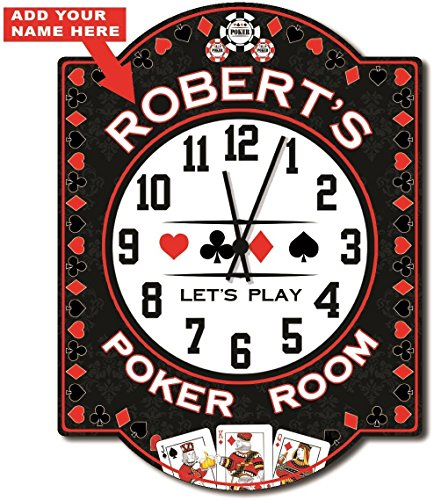 Poker Room Personalized Wall Clock from Redeye Laserworks - game room wall art