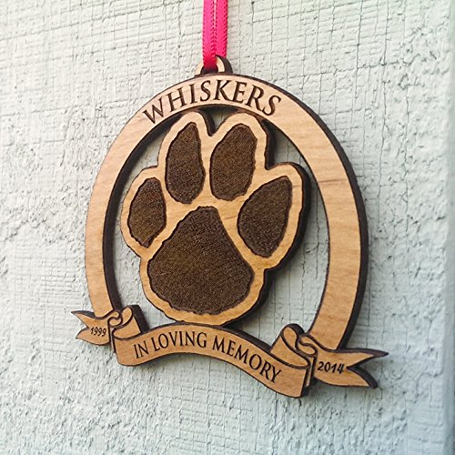 In Loving Memory Pet Memorial Ornament Personalized Christmas Dog or Cat Memorial Ornaments in Memory of Dog Holiday Tree Ornaments Engraved Gift Wood Custom Christmas Personalized by Custom-Ornaments-by-Stocking-Factory (Image #1)