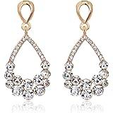 Lily Jewelry 925 Sterling Silver Swarovski Crystal Elements Drop Earings