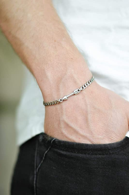 gift for him men/'s bracelet with silver plated charm black cord Double rhombus bracelet for men two squares minimalist jewelry for man