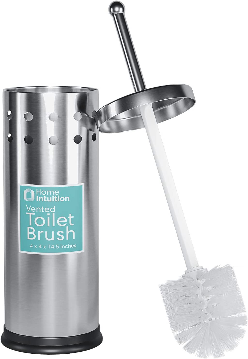 Home Intuition Stainless Steel Vented Toilet Brush and Holder, 1 Pack