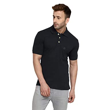 cdefea787 CHKOKKO Half Sleeve Plain Causal Polo Cotton Collar Tshirts for Men with  Pocket Anthra S Size