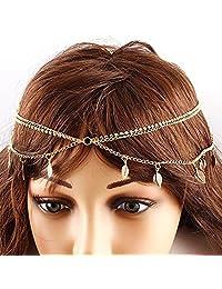 BODYA Women Girls Fashion Head Chain Jewelry three Layers leaf crystal Headband Party Hair Band Head Wear Accessories