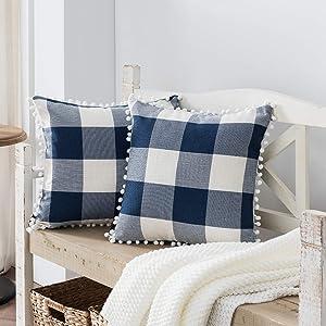 Nestinco Set of 2 Buffalo Check Pillow Covers Navy Blue and White Plaid Pom Pom Decorative Throw Pillow Covers 18 x 18 for Farmhouse Home Decor