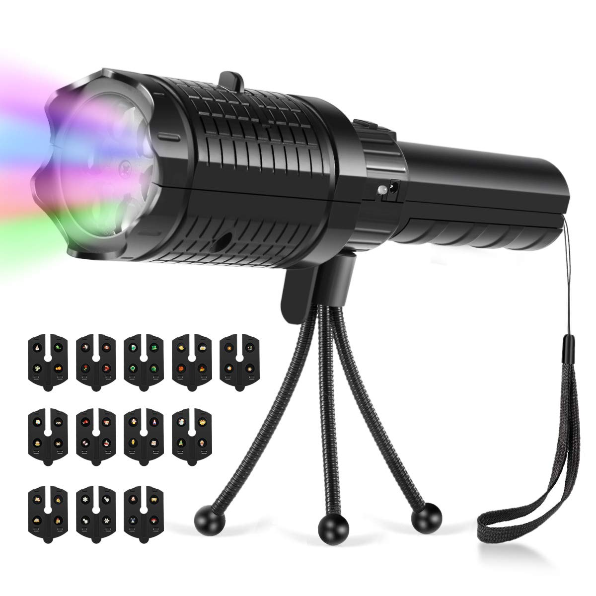 LED Projector Flashlight, Wellcows Portable Projector Battery USB Charging 2 in 1 Party Decorative Lights and Handheld Flashlight with Tripod Multiple Scene Slides for Party, Light Show, Birthday