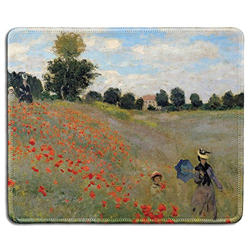 (dealzEpic - Art Mousepad - Natural Rubber Mouse Pad with Famous Fine Art Painting of Poppy Field by Claude Monet - Stitched Edges - 9.5x7.9 inches )