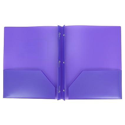 amazon com plastic folder with prongs 2 pocket purple office