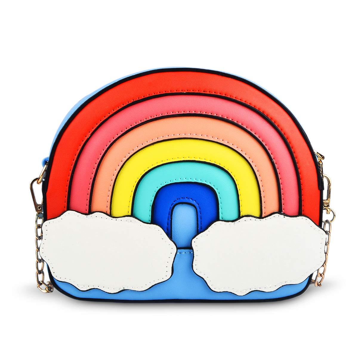 ویکالا · خرید  اصل اورجینال · خرید از آمازون · Rainbow Shape Crossbody Bag, Ustyle Women Girl Cute Shopping Shoulder Bag Removable Chain Strap (blue) wekala · ویکالا