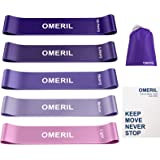 OMERIL Resistance Loop Exercise Bands with Instruction Guide and Carry Bag, Set of 5