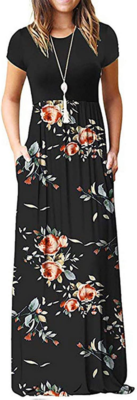 Kidsform Maxi vestir de manga holgada del vestido sólido del bolsillo de los vestidos largos del partido para Mujeres