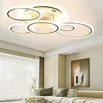 Led Ceiling Light Fixture 69w Modern Ceiling Lamps 6 Rings Modern Living Room Lighting Fixtures Ceiling With Remote For Bedroom Dining Room Kitchen Dimmable 3 Color Changing Amazon Com