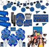 Party City Ultimate Blue Congrats Grad 2019 Graduation Party Supplies for 100 Guests with Banner, Tableware, and Props