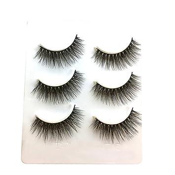 1941e27d302 Image Unavailable. Image not available for. Color: Jieyui False Eyelash,Natural  Long False Eyelashes Women's Makeup 3 Pairs Thick Black Eye Lashes