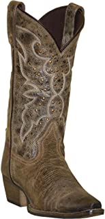 product image for Rawhide Boots Ladies Tan Leather Cowboy 12in Nailheads 10M