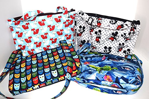 Mickey Mouse,Owls,Foxy Fox or Ocean Sea Life Quilted Handcrafted Purse,Adjustable Shoulder Strap,Multiple Compartments,Zippered (Foxy Purse)
