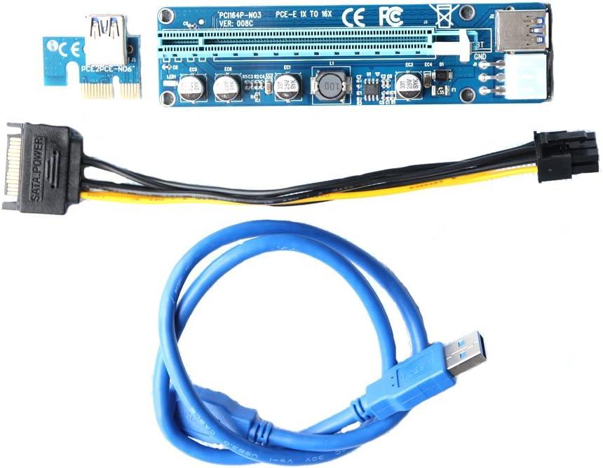 12 pcs PCI-E Version 008 C 1 x vers 16 x carte Riser Adaptateur Aliment/é par USB avec 60 cm de c/âble dextension USB 3.0 et SATA vers 6pin VER-008C PCIE Riser