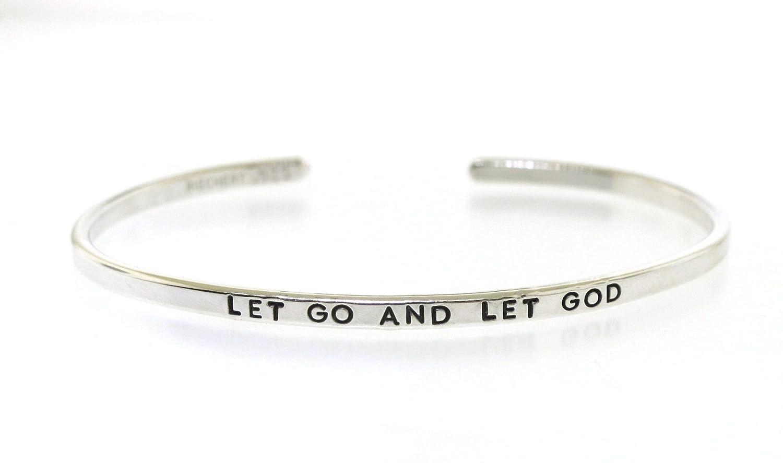 3ab022b1b23c7d Amazon.com: LET GO AND LET GOD, Inspirational Sterling Silver Cuff  Bracelet: Handmade