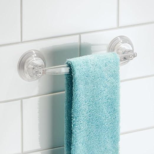 Amazon.com: InterDesign InterDesign Power Lock Suction Towel Bar U2013 Shower  Tiles, Glass Or Bathroom Mirrors, Clear: Home U0026 Kitchen