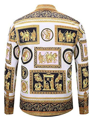 Barocco Uomo Stampa Pizoff Camicia Y1792 c8 A Elegante Lunghe Lussuosa Maniche qRt4wg