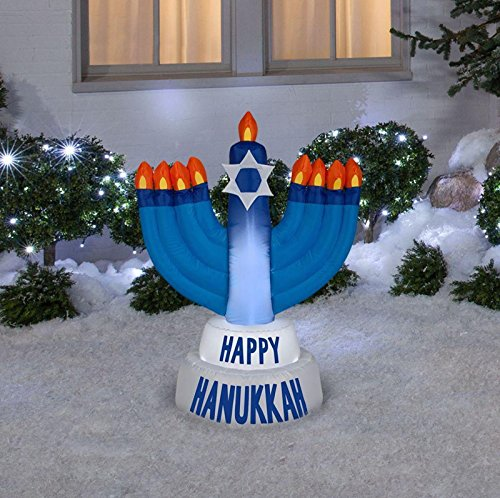 42 in Inflatable Outdoor Happy Hanukkah Menorah Candles Yard Prop ()