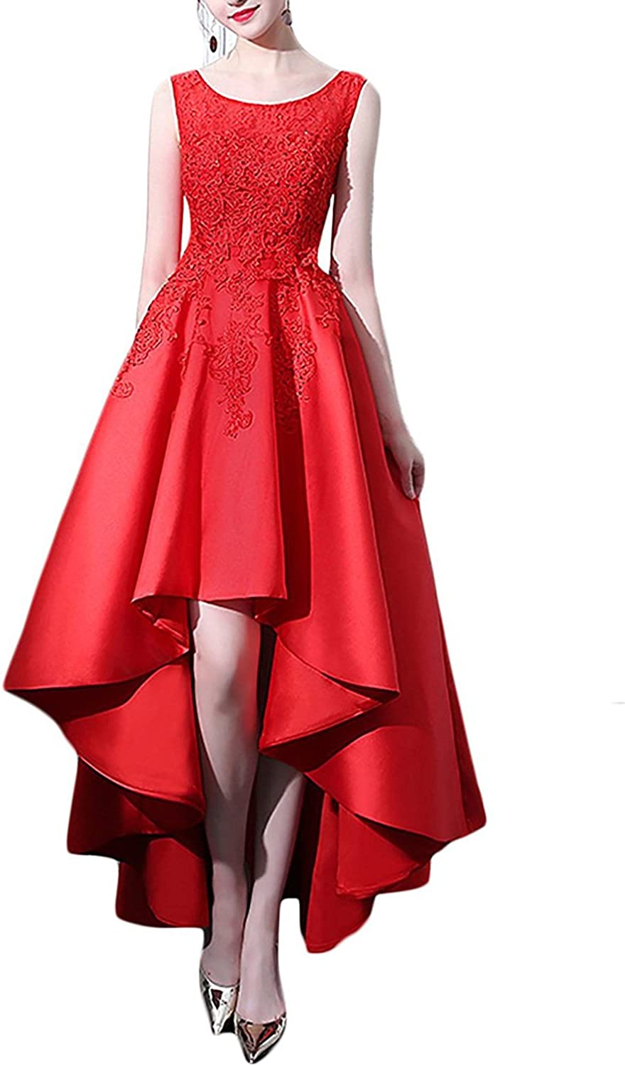 Aurora Bridal Womens High Low Homecoming Dresses 2018 Lace Appliques Satin Prom Gown AP147