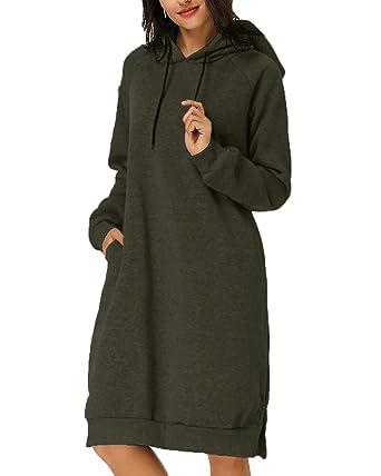 cc79e11c56 Kidsform Womens Hoodie Jumper Dress Ladies Hoodies Jumper Dresses Long  Hooded Sweatshirt  Amazon.co.uk  Clothing