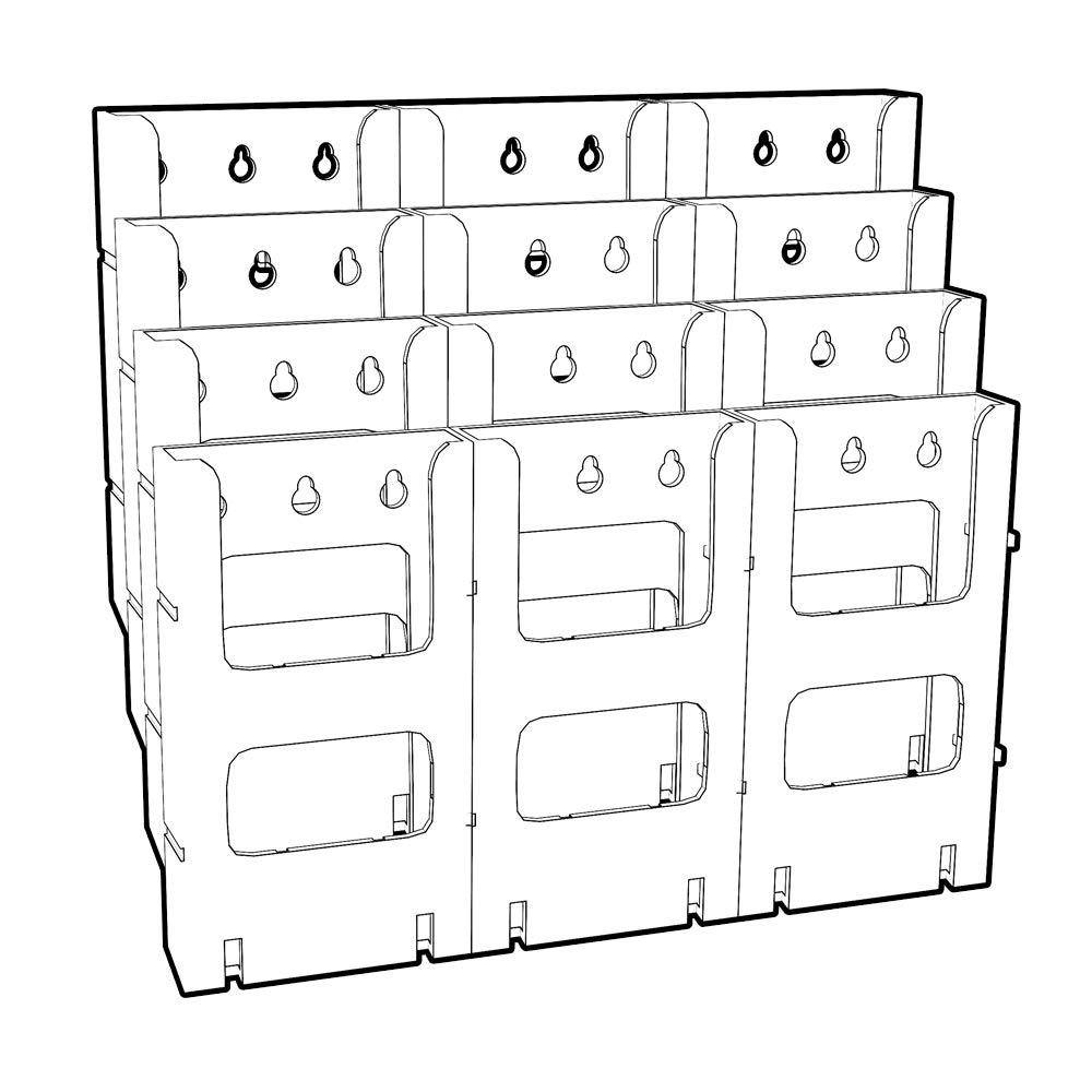 Azar 252323 12-Pocket Bifold Size Wall Mount Display by Azar Displays