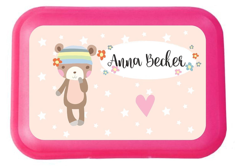 wolga-kreativ Brotdose Lunchbox mit Name Bä rchen Mä dchen und Wunschname mit Trennsteg viele Motive