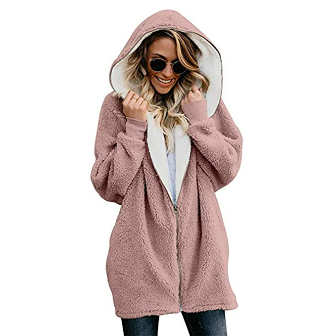 Womens Winter Open Front Loose Hooded Fleece Sherpa Jacket Cardigan Coat Pink S best women's faux sherpa jacket