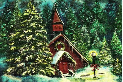 Quiet Snowfall Christmas Card by Mouth Painter Mark W. Sotak