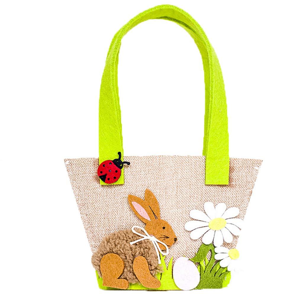 IEasⓄn Housekeeping & Organizers, Rabbit Gift Candy Bag Creative Present Easter Delicate Decor Bag IE-NN2408 (Brown)
