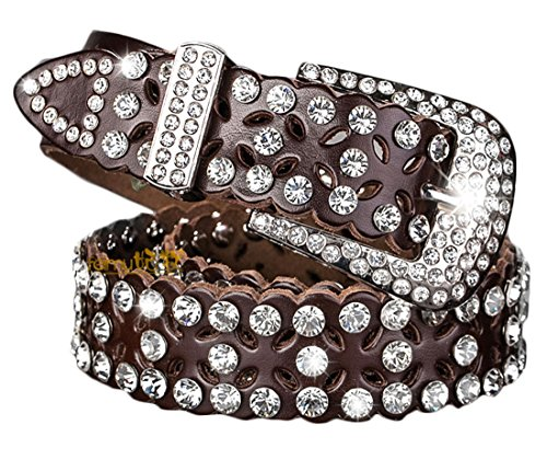 Women Belt for jeans with Rhinestone Jeweled Studded Western Cowgirl Belts by AMI VEIL