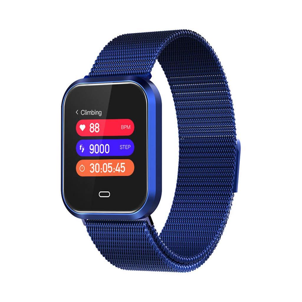 Luxurious Smart Watch Sports Fitness Heart Rate Tracker Blood Pressure Sleep Monitor Calorie Burn Counter Smartwatch (Blue)