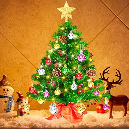 Mini Sapin de Noel Artificiel, 50cm Petit Sapin de Noel de Table LED, 5m Guirlandes Lumineuses Chaude, Boules de Noel et Etoile Sapin, pour Decorations Noël