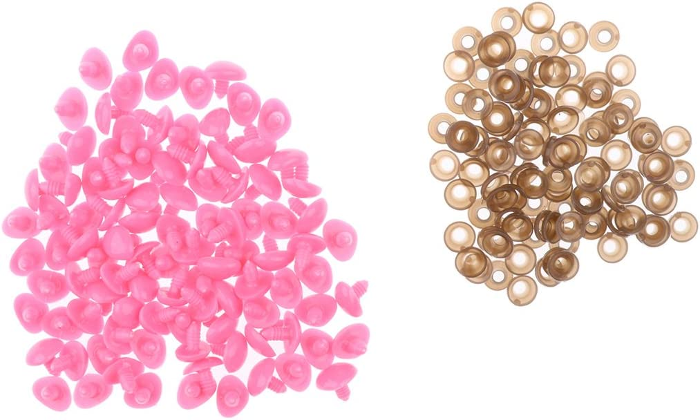 Toygogo 100x Plastic Triangle Oval Animal//Dog Safety Noses for Teddy Bears Soft Toys DIY Pink 14 x 18 mm