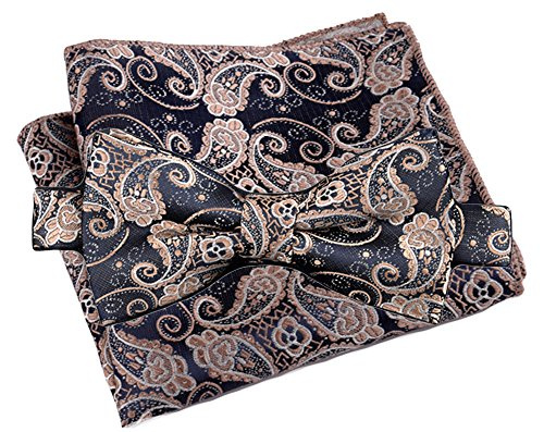 Flairs New York Paisley Collection Bow Tie & Pocket Square Matching Set (Aegean Blue / Empire Gold)