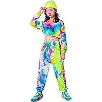 LOLANTA Conjunto de Ropa Tie-Dye para niñas, Sudadera de Terciopelo, Traje de Baile Callejero,Pantalones con cordón para…